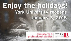 University Closed for Holidays, Reopening January 3, 2018