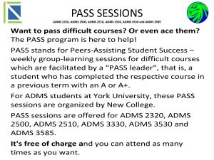ADMS 3530 - Summer PASS Session @ Atkinson Building, Room 124 | Milledgeville | Georgia | United States