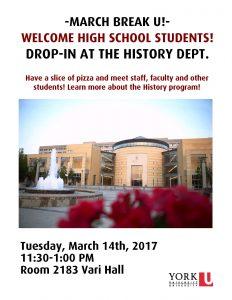 March Break U Drop-In at the Department of History @ Department of History, Room 2183 Vari Hall | Toronto | Ontario | Canada