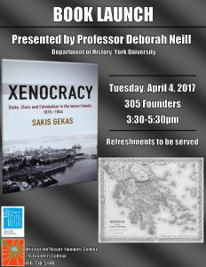 Book Launch: Xenocracy: State, Class and Colonialism in the Ionian Islands, 1815-1864 by Sakis Gekas @ 305 Founders College, York University    Toronto   Ontario   Canada
