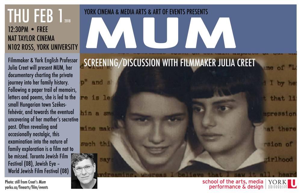 Julia Creet, filmmaker, presents her film MUM   infographic   2018-01-30