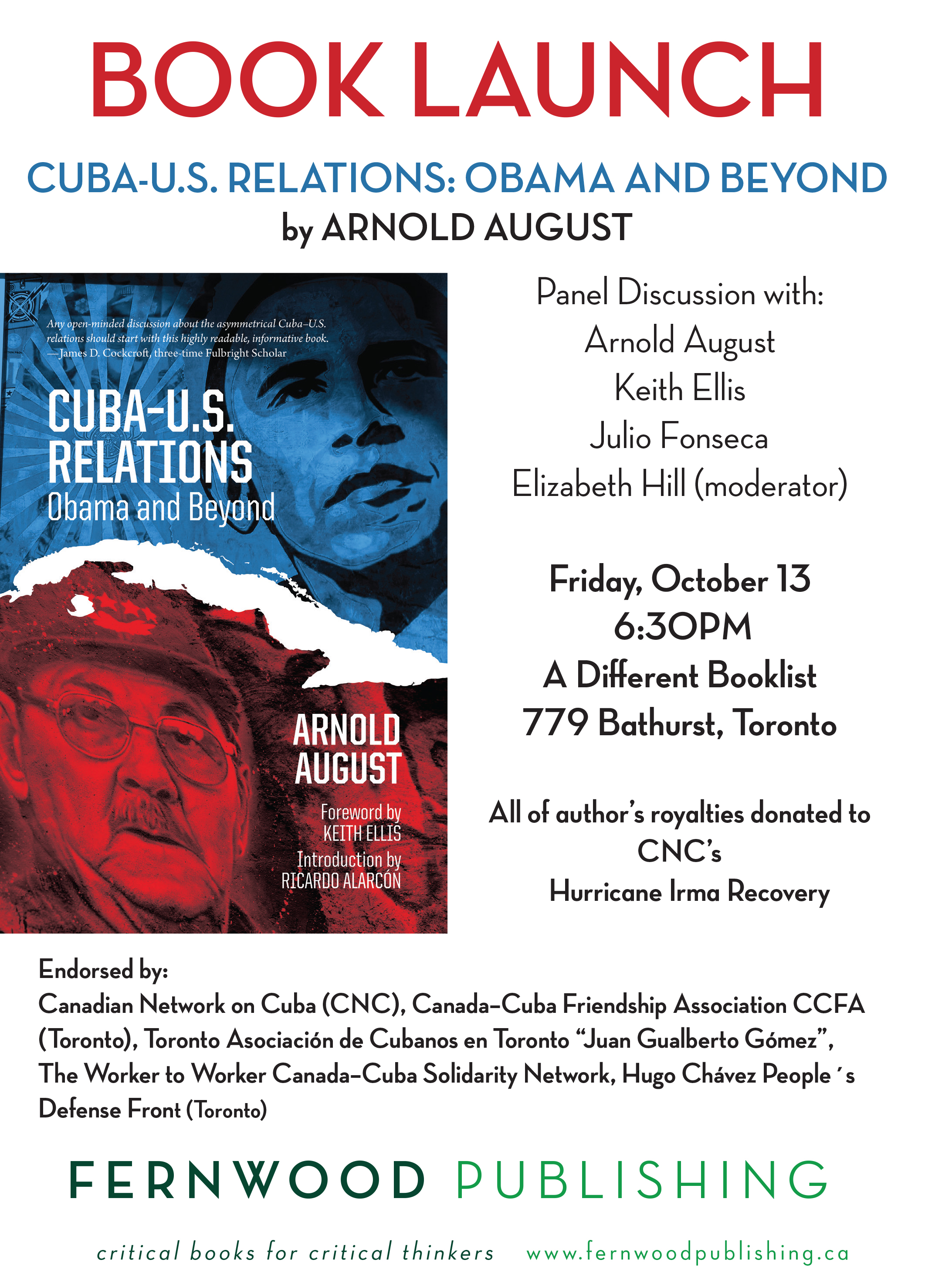 Book Launch: CUBA-U.S. Relations: Obama and Beyond By Arnold August