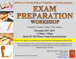 Exam and Test Prep Workshop @ 303 Founders College | Toronto | Ontario | Canada