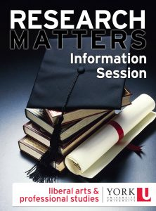 Research Matters Information Session info graphic with books, degree, and mortar board