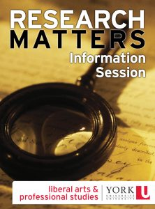 Research Matters Information Session info graphic with magnifying glass