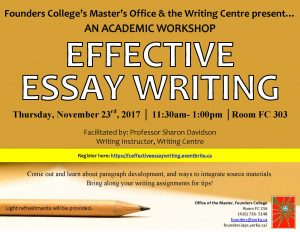 Writing Workshop with the Writing Centre @ 303 Founders College | Toronto | Ontario | Canada