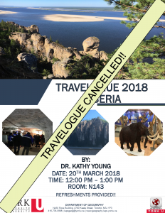 Travelogue Cancelled (Siberia: Tuesday March 20th 2018) @ York University, Ross N143