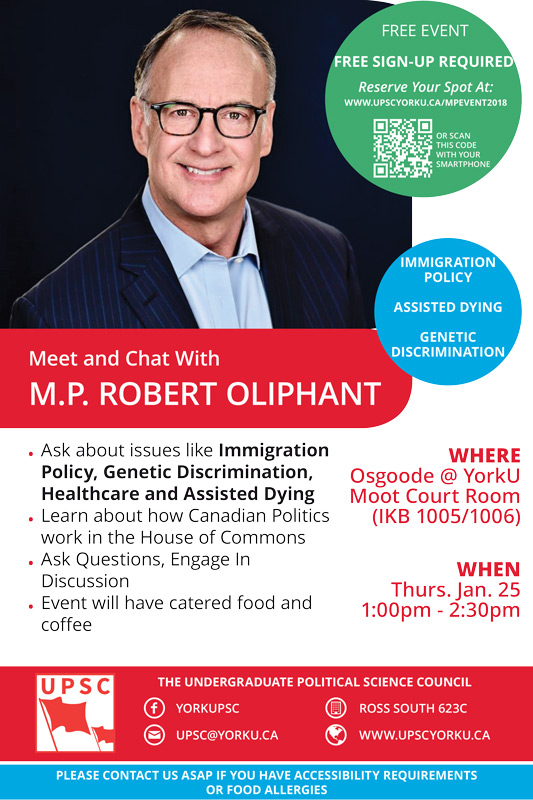 MP Rob Olipant event poster from the Undergraduate Political Science Council