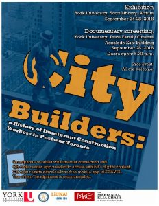 City Builders: A History of Immigrant Construction Workers in Post-war Toronto @ York University   Toronto   Ontario   Canada