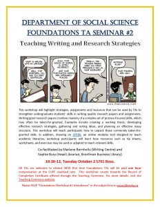 SOSC Foundations TA Seminar #2 - Teaching Writing and Research Strategies @ 701 South Ross Building