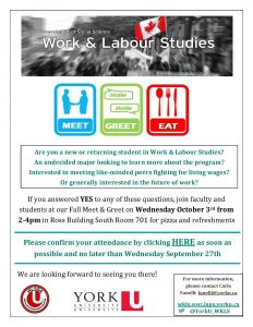 Work & Labour Studies Meet & Greet @ 701 Ross Building South
