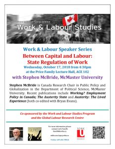 Between Work and Labour: State Regulation of Work @ Price Family Lecture Hall, ACE 102