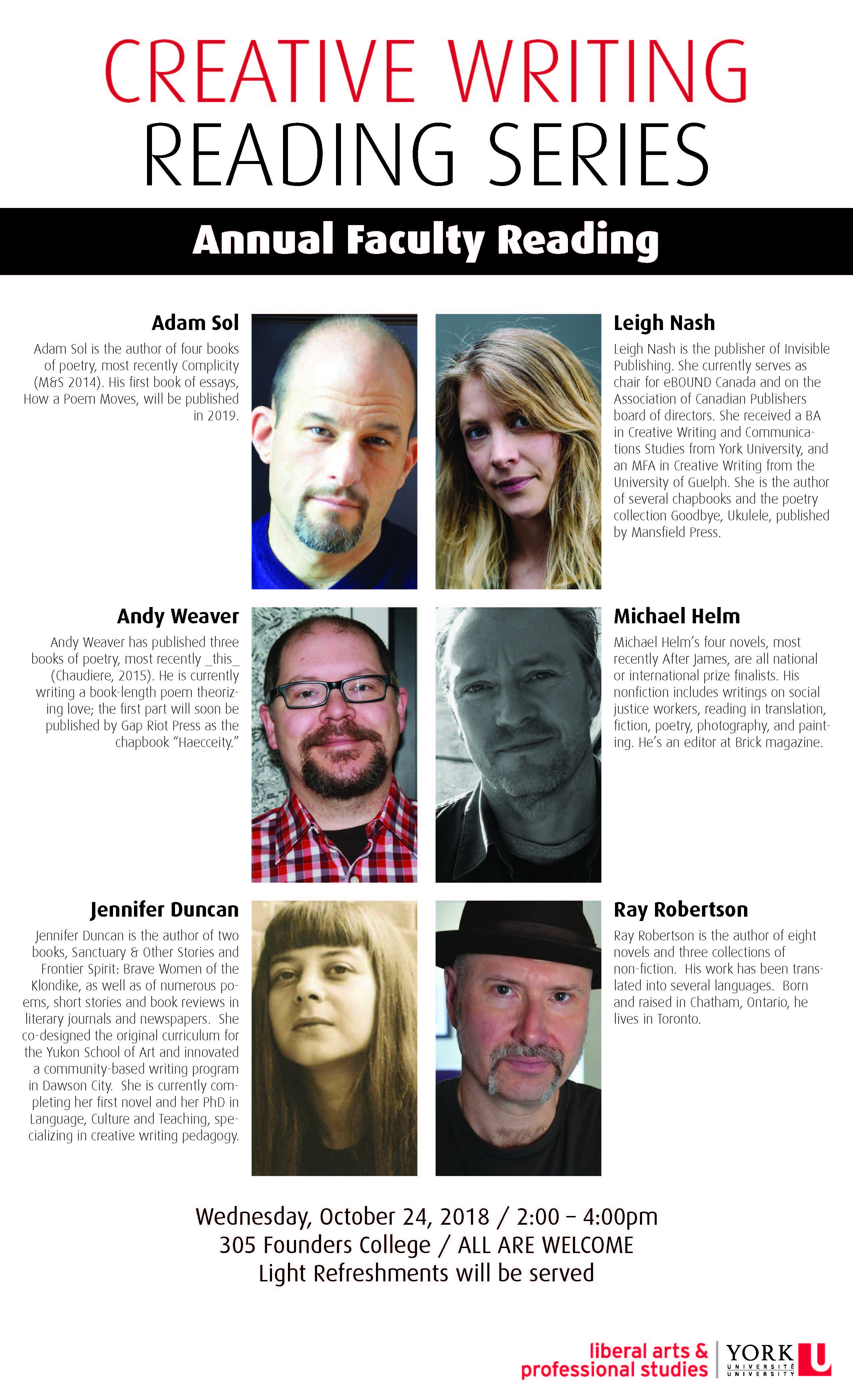 CREATIVE WRITING READING SERIES poster