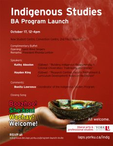 Indigenous Studies BA Program Launch @ New Student Centre, Convention Centre, 2nd Floor, Room C2 | Toronto | Ontario | Canada
