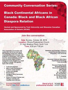 COMMUNITY CONVERSATION   Black Continental Africans in Canada: Black & Black African Diaspora Relation @ Ghana Presbyterian Church   Toronto   Ontario   Canada