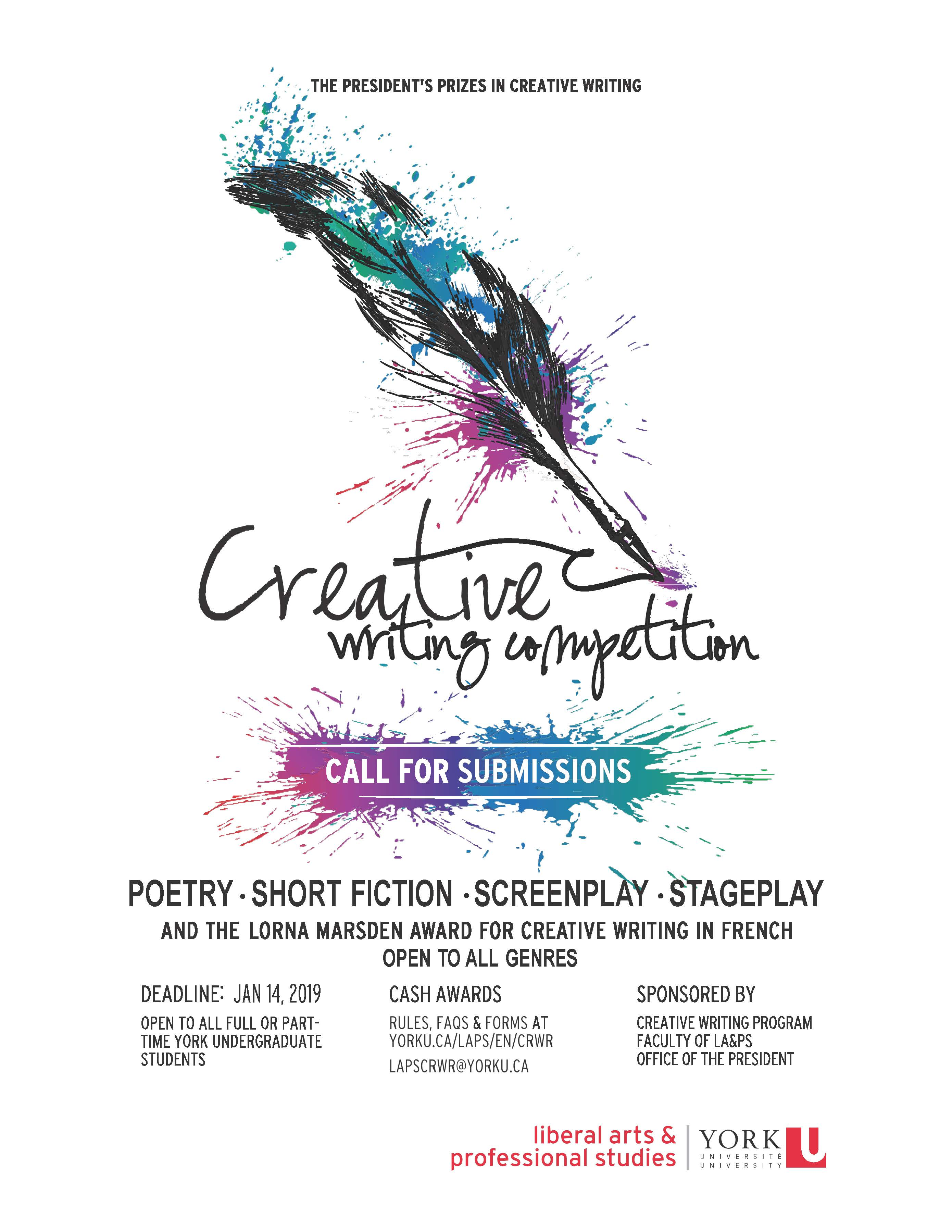 The President's Prizes in Creative Writing - Call for Submissions @ Creative Writing Program, LA&PS, Office of the President | Toronto | Ontario | Canada