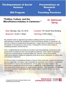 Politics, Culture, and the Microfinance Industry in Cameroon @ 701 Ross Building South
