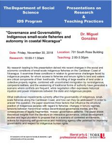 """Governance and Governability: Indigenous small-scale fisheries and autonomy in coastal Nicaragua"""" @ 701 Ross Building North 