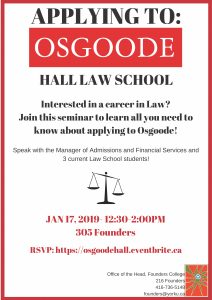 Applying to Osgoode Hall Law School @ 305 Founders
