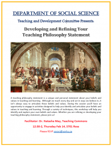 SOSC - Developing and Refining Your Teaching Philosophy Statement @ 701 Ross Building South