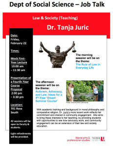 SOSC Law & Society Job Talk (Teaching): The Rule of Law in Everyday Life @ 701 Ross Building South