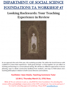 SOSC Foundations TA Seminar #7 - Looking Backwards: Your Teaching Experience in Review @ 701 Ross Building South