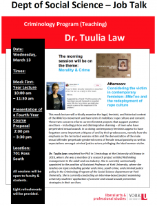SOSC Criminology (CRIM) Job Talk: Considering the victim in contemporary feminism: #MeToo and the redeployment of rape culture @ 701 Ross Building South