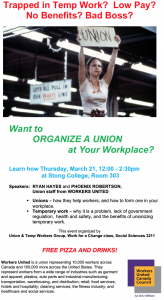 Want to Organize a Union at Your Workplace? @ Stong College, Room 303