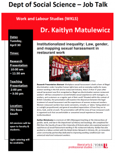 SOSC Job Talk - Work & Labour Studies (WKLS) - Institutionalized inequality: Law, gender, and mapping sexual harassment in restaurant work @ 701 Ross Building South