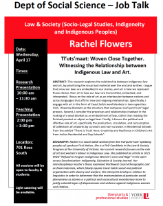 Cancelled: SOSC Law & Society Job Talk (Socio-Legal Studies, Indigeneity and Indigenous Peoples) @ 701 Ross Building South