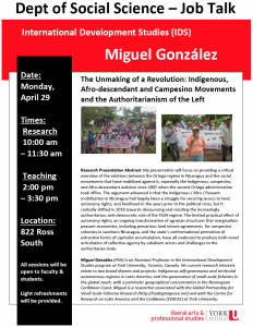 SOSC Job Talk - International Development Studies (IDS): The Unmaking of a Revolution: Indigenous, Afro-descendant and Campesino Movements and the Authoritarianism of the Left @ 822 Ross Building South