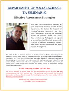 SOSC Foundations TA Seminar #2 - Effective Assessment Strategies @ 701 Ross Building South