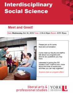Interdisciplinary Social Science Meet and Greet - Oct 30 @ 701 Ross Building South
