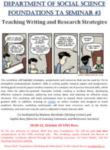 SOSC Foundations TA Seminar #3 - Teaching Writing and Research Strategies @ 701 Ross Building South