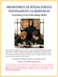 SOSC Foundations TA Seminar #4 - Teaching Critical Reading Skills @ 701 Ross Building South