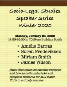 Socio-Legal Studies (SLST) Speakers Series @ 701 Ross Building South