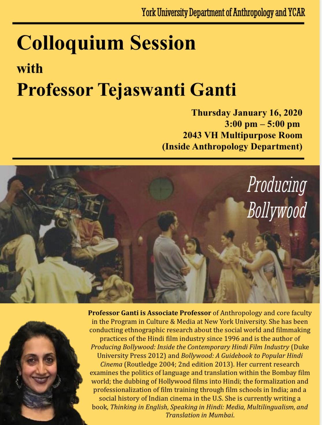 Colloquium Session with Professor Tejaswanti Ganti