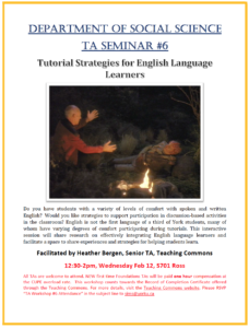 SOSC Foundations TA Seminar #6 - Tutorial Strategies for English Language Learners @ 701 Ross Building South