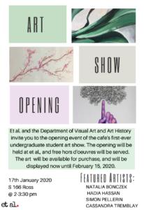 Undergraduate Art Show Opening @ et al Faculty and Graduate Student Pub and Café @ et al Faculty and Grad Student Pub & Café
