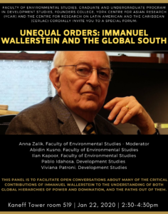 Unequal Orders: Immanuel Wallerstein and the Global South @ 519 Kaneff Tower