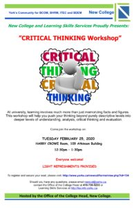 CRITICAL THINKING Workshop @ Harry Crowe Room