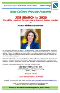 JOB SEARCH with Marie Hélène Budworth @ Harry Crowe Room