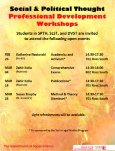 SPTH/SLST/DVST Professional Development Workshops Winter 2020 - Academics & Activism @ 701 Ross Building South