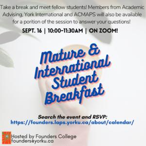Mature / International Student Virtual Breakfast!