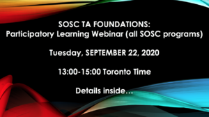 SOSC TA FOUNDATIONS: Participatory Learning Webinar (all SOSC programs) @ Zoom webinar