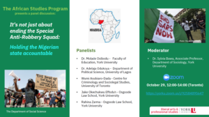 SOSC African Studies Panel Discussion: It's not just about ending the Special Anti-Robbery Squad: Holding the Nigerian state accountable @ Zoom Panel Discussion