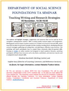 SOSC TA FOUNDATIONS: Teaching Writing and Research Strategies (all programs) @ Zoom Webinar