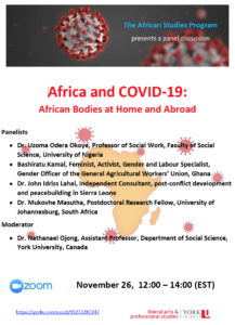 SOSC African Studies Panel Discussion: Africa and COVID-19: African Bodies at Home and Abroad @ Zoom Panel Discussion