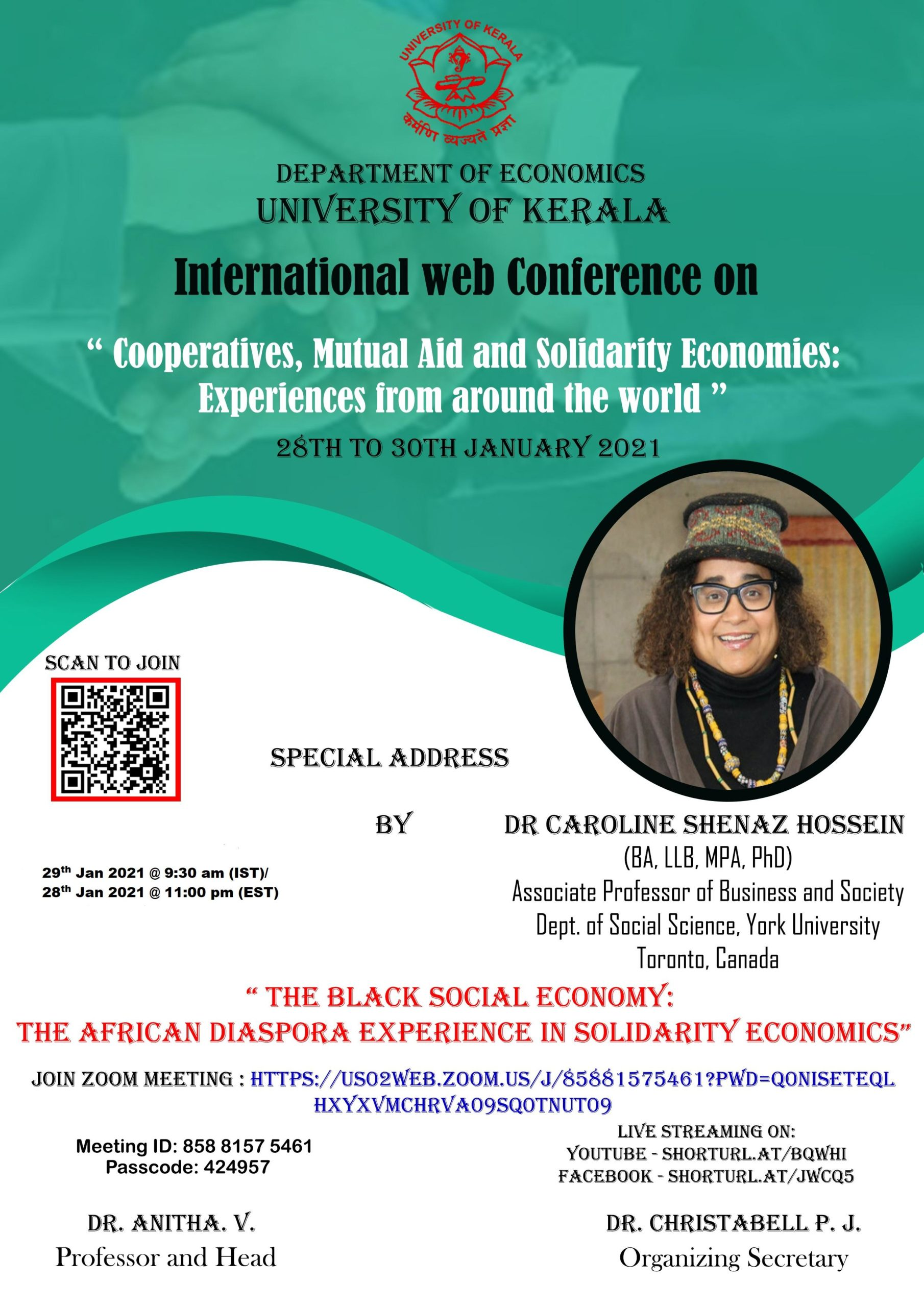 Poster for The Black Social Economy: The African Diaspora Experience in Solidarity Economics - a special address by Dr. Caroline Shenaz Hossein