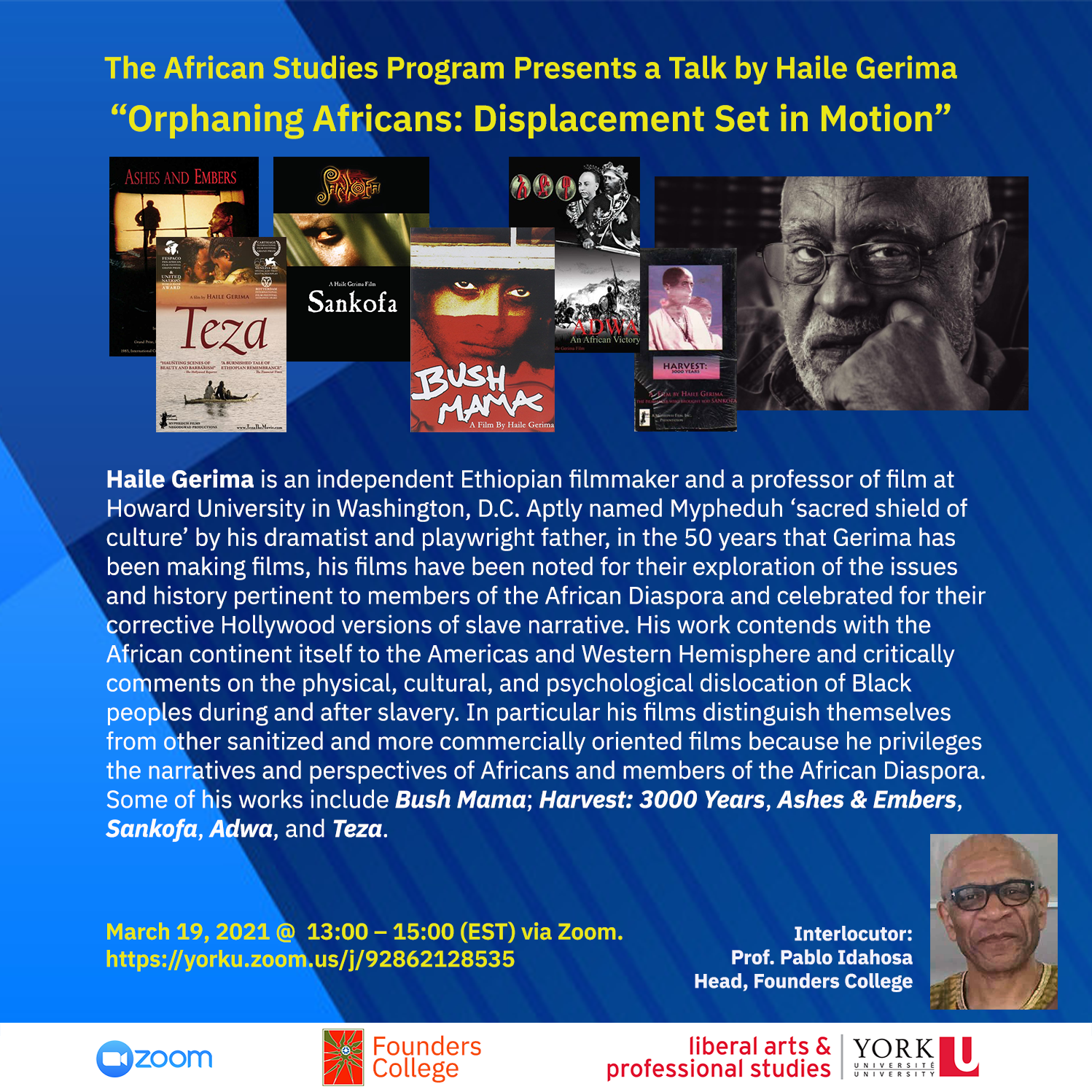Poster for Haile Gerima zoom talk